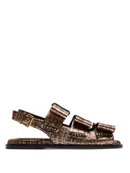Marni Bow Detail Leather Slingback Sandals Rose Gold