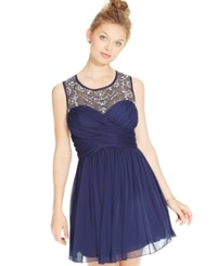 B Darlin Juniors' Jeweled Illusion Chiffon Party Dress Navy