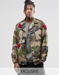 Reclaimed Vintage Camo Jacket With Rose Patches Khaki Green