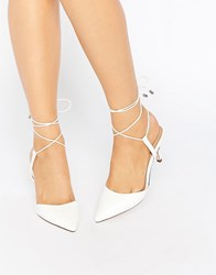 Asos Showcase Pointed Lace Up Heels White