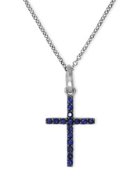Effy Collection Gemma By Effy Sapphire 1 6 Ct. T.W. And Diamond Accent Pave Cross Pendant In 14K White Gold