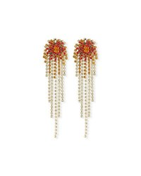 Dries Van Noten Starburst Crystal Chain Dangle Earrings Orange