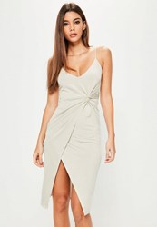 Missguided Grey Ruched Side Wrap Midi Dress Stone