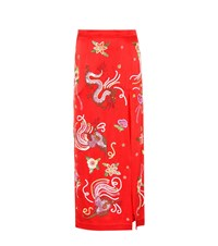 Attico Sequinned Satin Pencil Skirt Red