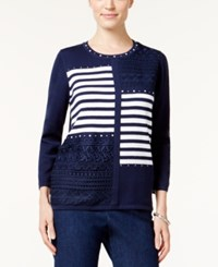 Alfred Dunner Petite Uptown Girl Embellished Patchwork Sweater Multi