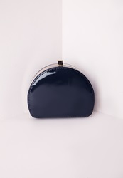 Missguided Half Moon Box Clutch Blue Blue