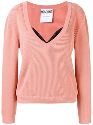 Moschino Layered Ribbed Knit Sweater Pink And Purple
