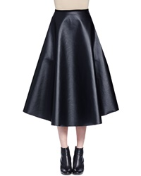 Lanvin Full Leather Midi Skirt Black
