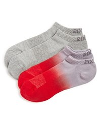 2Xist 2 X Ist Dip Dye Terry Sport Ankle Socks Pack Of 2 Red Grey
