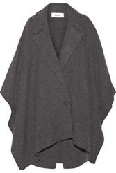 Chalayan Leather Trimmed Wool Blend Poncho Dark Gray