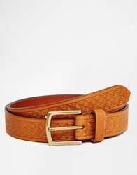 Asos Leather Belt In Brown With Vintage Style Emboss Brown