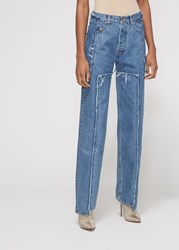 Vetements 'S Frayed Denim Pants In Blue Size Xs 100 Cotton