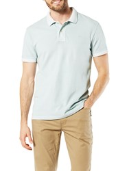 Dockers Garment Dyed Fitted Short Sleeve Polo Shirt Sterling Blue
