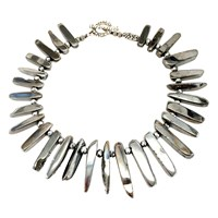 Dripping In Gems Silver Titanium Agate Necklace