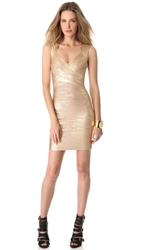 Herve Leger Iman Dress Gold Champagne Combo