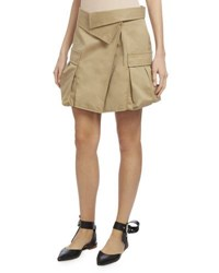Monse Asymmetric Canvas Cargo Skirt Khaki