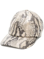Msgm Snakeskin Effect Baseball Cap Nude And Neutrals