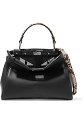 Fendi Peekaboo Mini Python Trimmed Leather Shoulder Bag Navy