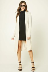 Forever 21 Longline Open Front Cardigan Oatmeal