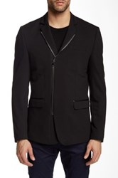Ron Tomson Faux Leather Collar Double Zip Blazer Black