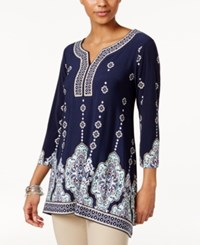 Jm Collection Printed Handkerchief Hem Tunic Only At Macy's Venice Medallion