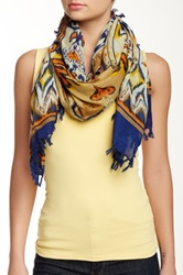 Cara Accessories Printed Scarf Blue