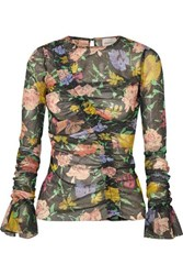Alice Mccall Cosmic Ruched Metallic Floral Print Mesh Top Black