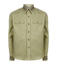 Alexander Mcqueen Military Embroidered Detail Shirt Male Green