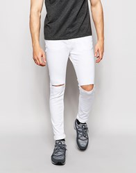 Pull And Bear Pullandbear Super Skinny Jeans In White With Rips White