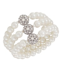 Carolee Bracelet Glass Pearl Three Row
