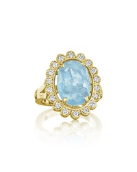 Penny Preville 18K Scalloped Aquamarine And Diamond Ring Gold