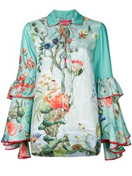 F.R.S For Restless Sleepers Floral Gypsy Polo Top Green