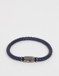 Tommy Hilfiger Braided Bracelet In Navy And Gunmetal Blue