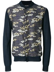 Emporio Armani Printed Panel Cardigan Blue