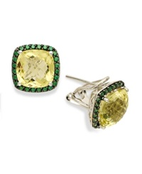 Macy's Sterling Silver Earrings Lemon Quartz 7 Ct. T.W. And Green Swarovski Zirconia 3 4 Ct. T.W. Square Earrings