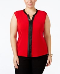 Calvin Klein Plus Size Faux Leather Trim Cap Sleeve Top Rouge