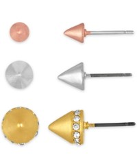 Rachel Roy Tri Tone 3 Pc. Set Spiked Stud Earrings With Interchangeable Earring Jackets Tri Tone