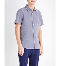 Orlebar Brown Roberts Gingham Print Cotton Shirt Navy White