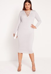 Missguided Plus Size Lace Up Dress Grey Grey