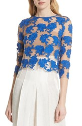 Tracy Reese Sheer Embroidered Floral Top Blue Pigment