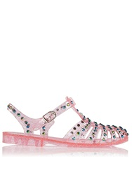 Markus Lupfer Crystal Stud Jelly Flats Pink Pink