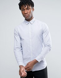 Selected Homme Long Sleeve Slim Fit Stripe Oxford Shirt With Hidden Button Down Collar White Blue