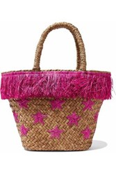 Kayu Fringed Embroidered Woven Straw Tote Fuchsia