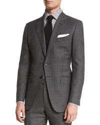 Tom Ford O'connor Base Bicolor Gingham Two Piece Suit Black Gray Blk Grey