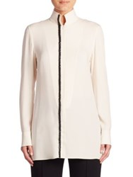 Akris Long Sleeve Silk Crepe Tunic Blouse Moonstone Black