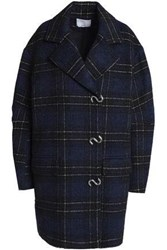 Tibi Oversized Double Breasted Checked Wool Blend Coat Navy