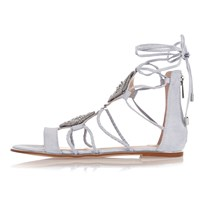 River Island Womens Light Blue Embellished Gladiator Sandals
