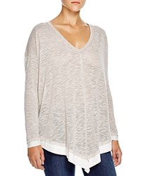 Splendid Cozy Melange V Neck Sweater Heather Warm Sand