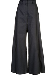 Peter Pilotto Flared Godet Trousers Blue