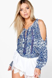 Boohoo Woven Off The Shoulder Printed Crop Multi